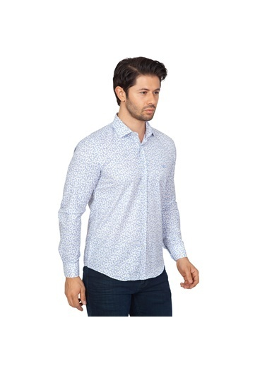 White Stone Pamuklu Slim Fit Uzun Kollu Gömlek Desenli Renkli